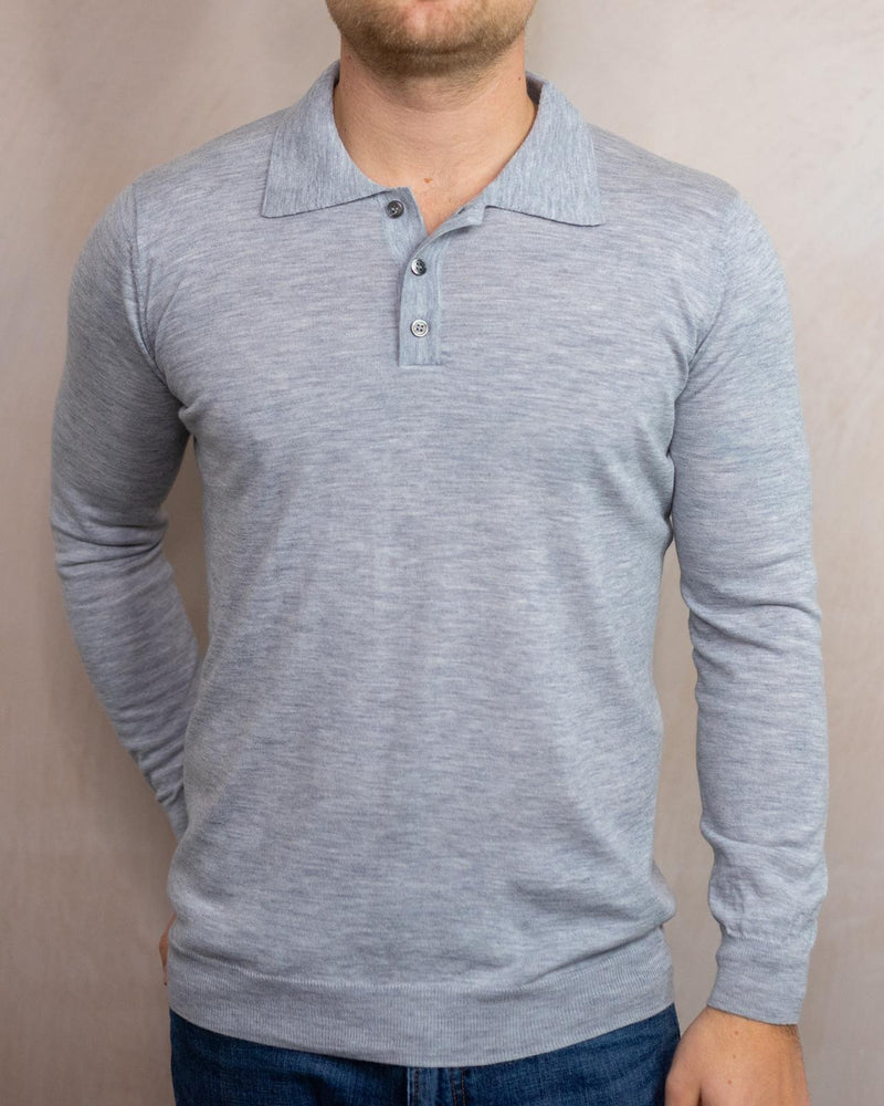 Long Sleeve Mother Of Pearl Buttoned Merino Wool Polo Shirt Grey