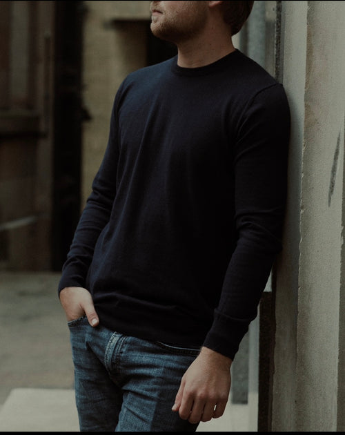 Long Sleeve Cotton Cashmere Tee Navy