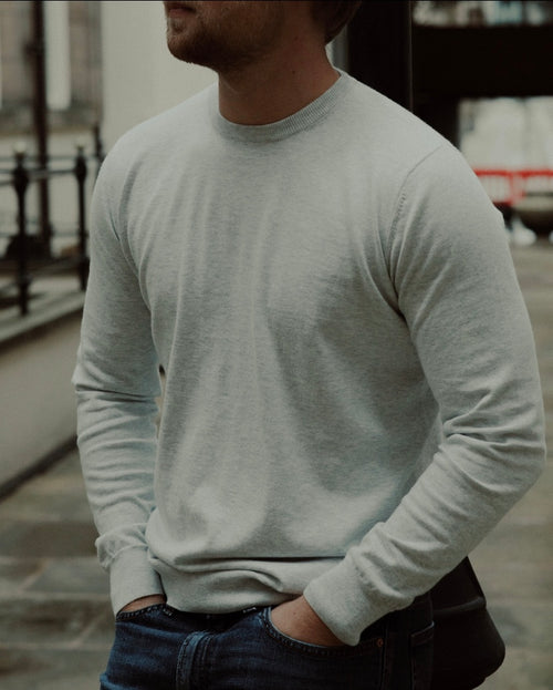 Long Sleeve Cotton Cashmere Tee Grey