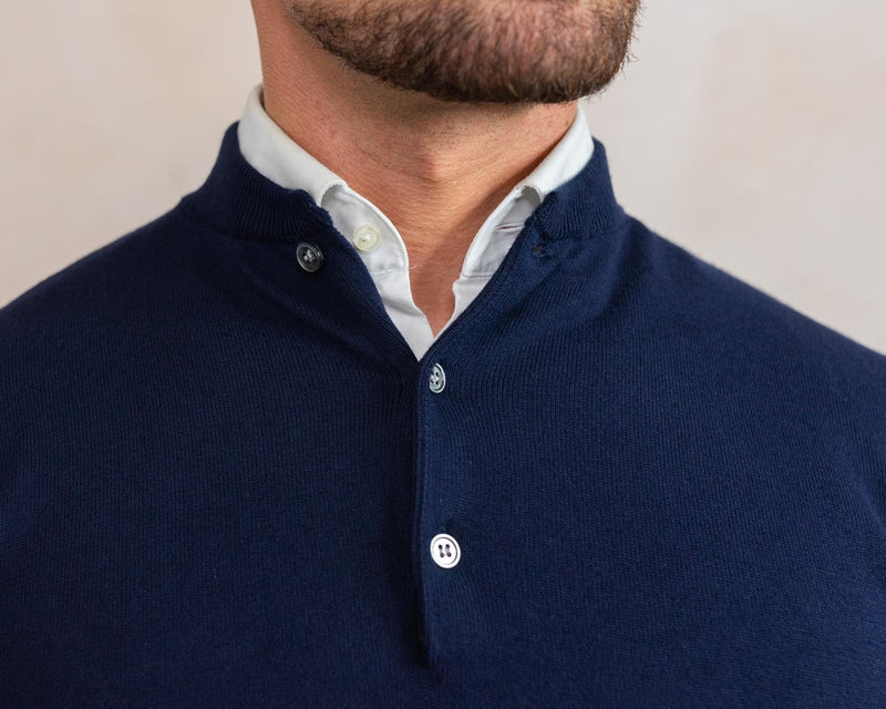 *Pre Order* Cotton Cashmere Knitted Henley Navy