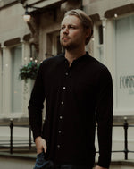 100% Merino Wool Long Sleeve Button Down Shirt Black