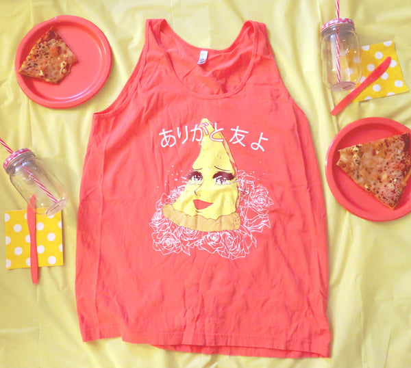 Thank You My Friends Pizza Unisex Tank Top - ありがとう 友 よ