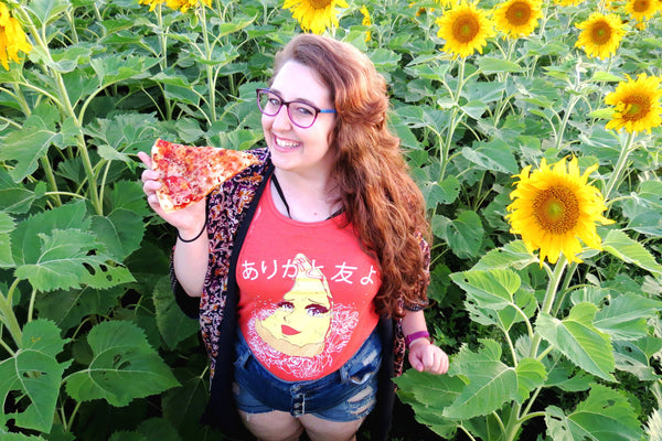 Crying Anime Pizza Ladies Tank Top - ありがとう 友 よ