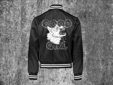 Good Girl Black Unisex Satin Baseball Jacket