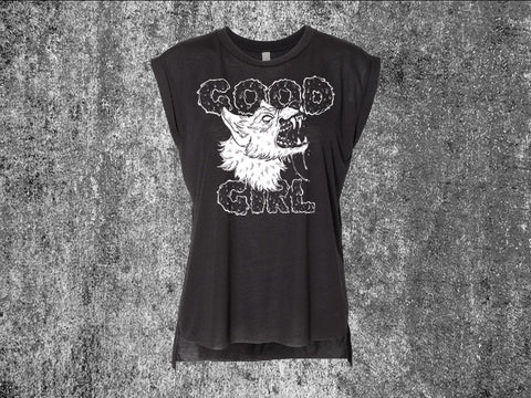Good Girl Black Women's Flowy Muscle Tank Top