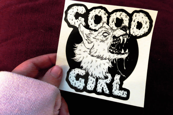 "Good Girl Decal 4"" and 2.5"" Large and Small Laminated Vinyl"