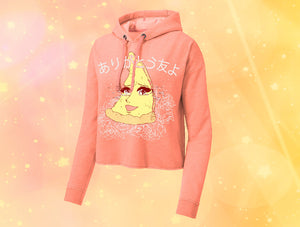 Crying Anime Pizza Ladies Cropped Hoodie - ありがとう 友 よ