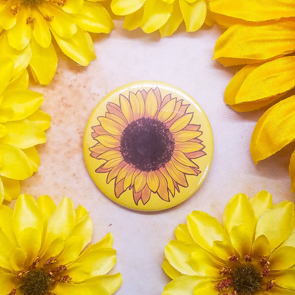 "Sunflower Button Magnet Mirror 2.25"" Circle"