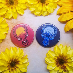 "Cowboy Buck Button Magnet Mirror 2.25"" Set"
