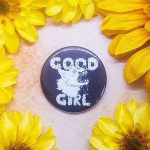 "Good Girl Button Magnet Mirror 2.25"" Circle"