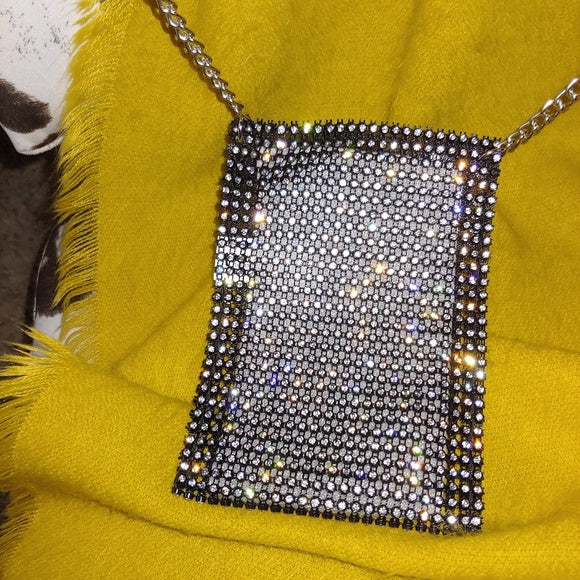rhinestone mesh cellphone purse