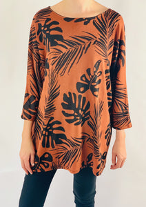 Chevelle Leaf Print Oversized Top