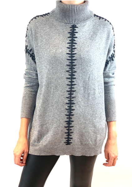 Adriana Blanket Stitch Roll Neck Jumper