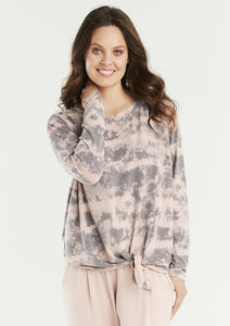 Gemma Tie Front Cloud Print Top