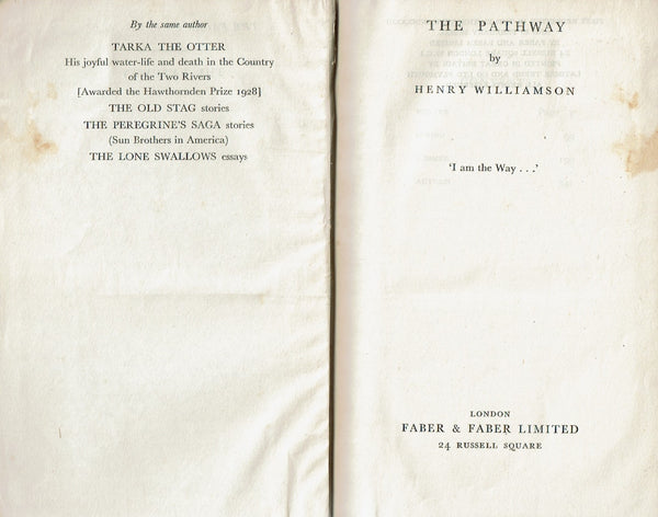 The Pathway by Henry Williamson [Fourth in the series 'The Flax of Dream']