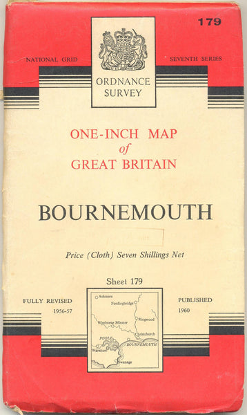 Ordnance Survey One Inch Map of Bournemouth Sheet 179 [original from 1960] [used-very good] - The Real Book Shop