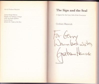 THE SIGN AND THE SEAL: A Quest for the Lost Ark of the Covenant by Graham Hancock SIGNED BY THE AUTHOR