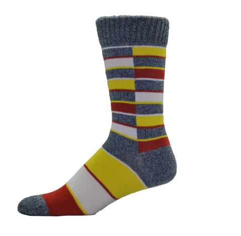 Simcan Colour Series Socks - Yellow/Red Squares