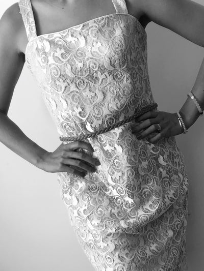 White Lace Illusion Dress Casual Wedding