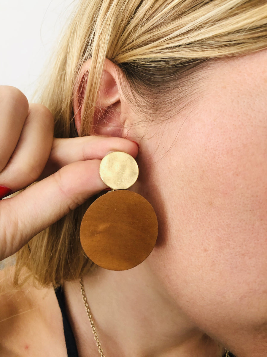 Sun Moon Color Block Earrings