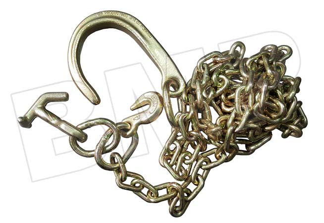 TOW CHAIN WITH J HOOK SHORT SHANK + TJ + GRAB HOOK 5/16 x 10ft