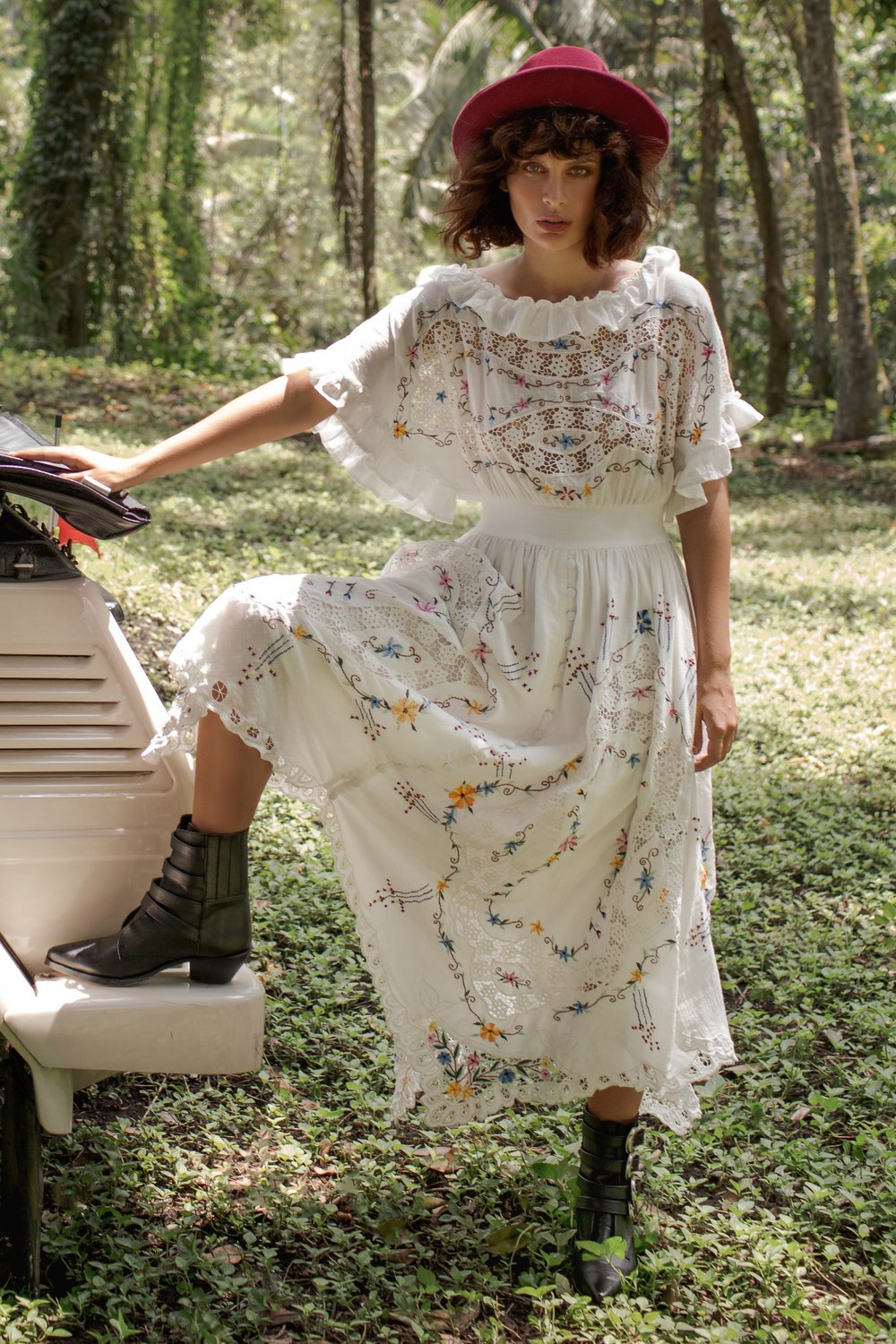 ONCE UPON A SONG - BATWING EMBROIDERED MAXI DRESS