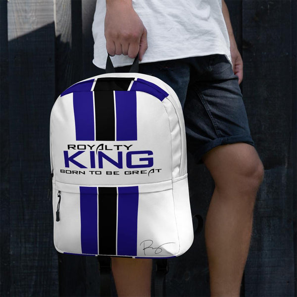 Royalty KING Backpack - White, Blue & Black