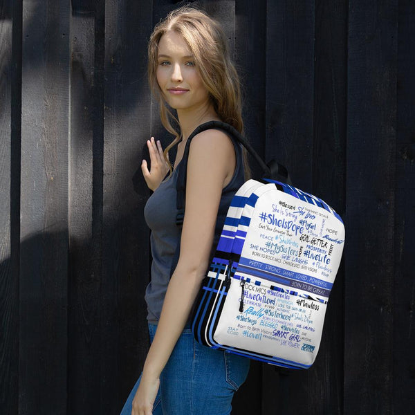 #SheHashtag Backpack (Blue & White)