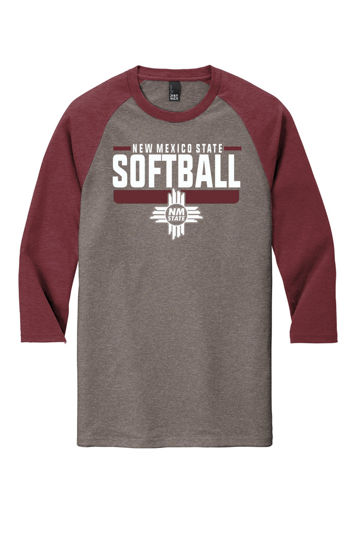 New Mexico State Softball 3/4 Raglan Tee