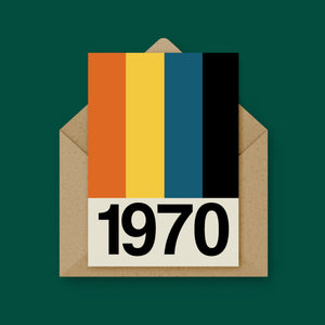 Retro Stripe Year Card (Available from 1970 to 1981)
