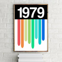 PERSONALISED 'Soundwaves' Year Print RAINBOW LIGHT