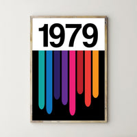 PERSONALISED 'Soundwaves' Year Print RAINBOW
