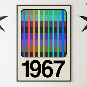PERSONALISED '1980 TV WEAVE SCREEN' Year Print - Biscuit