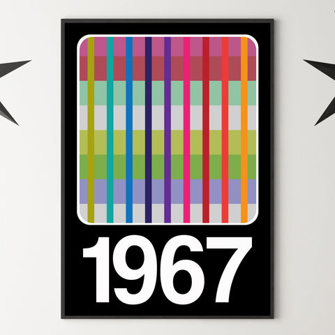 PERSONALISED '1980 TV WEAVE SCREEN' Year Print - Black