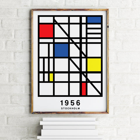 PERSONALISED Grid Map Year Print - White Bright