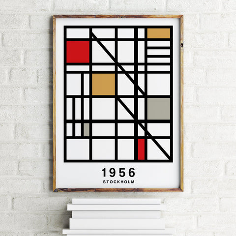 PERSONALISED Grid Map Year Print - White Tan