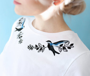 Singing birds embroidered t-shirt