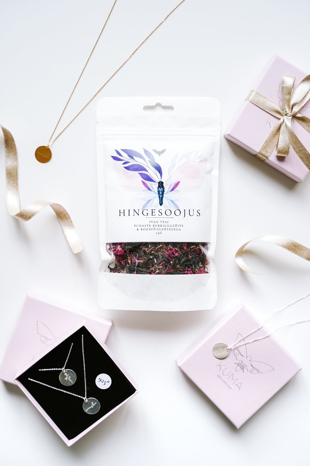 KUMA Silver Necklace x KUMA organic tea Gift Set