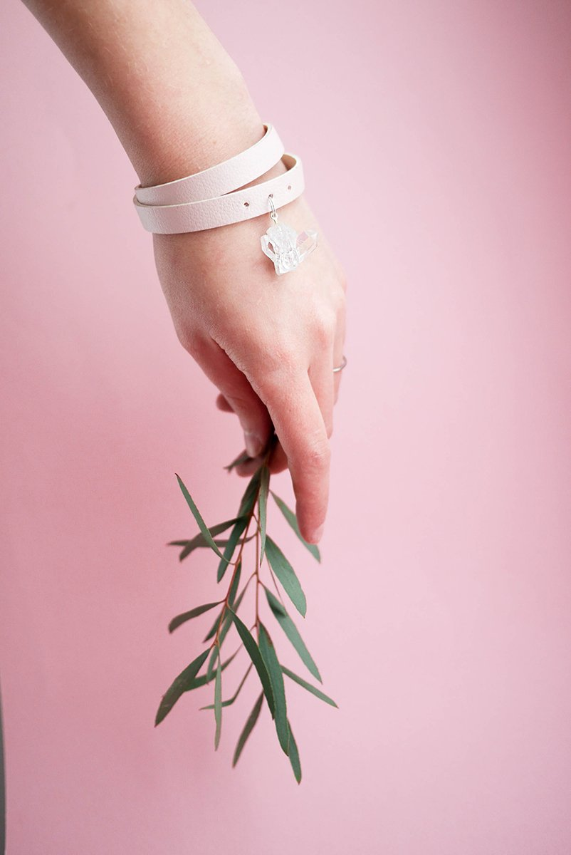 Baby Pink-Beige Wristband with Clear Quartz - KUMA Design Store