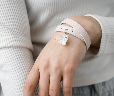 Baby Pink-Beige Wristband with Clear Quartz