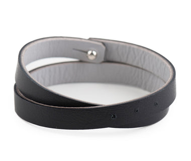 Black-Grey Leather Wristband