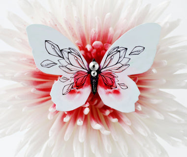 Dreamy Poppy Butterfly Brooch