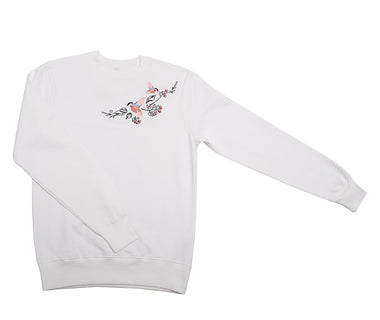 Dancing birds embroidered sweatshirt
