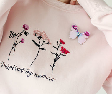 Pink Blossoms embroidered sweatshirt