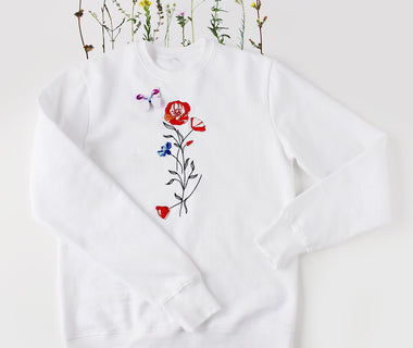 Poppy Love embroidered sweatshirt