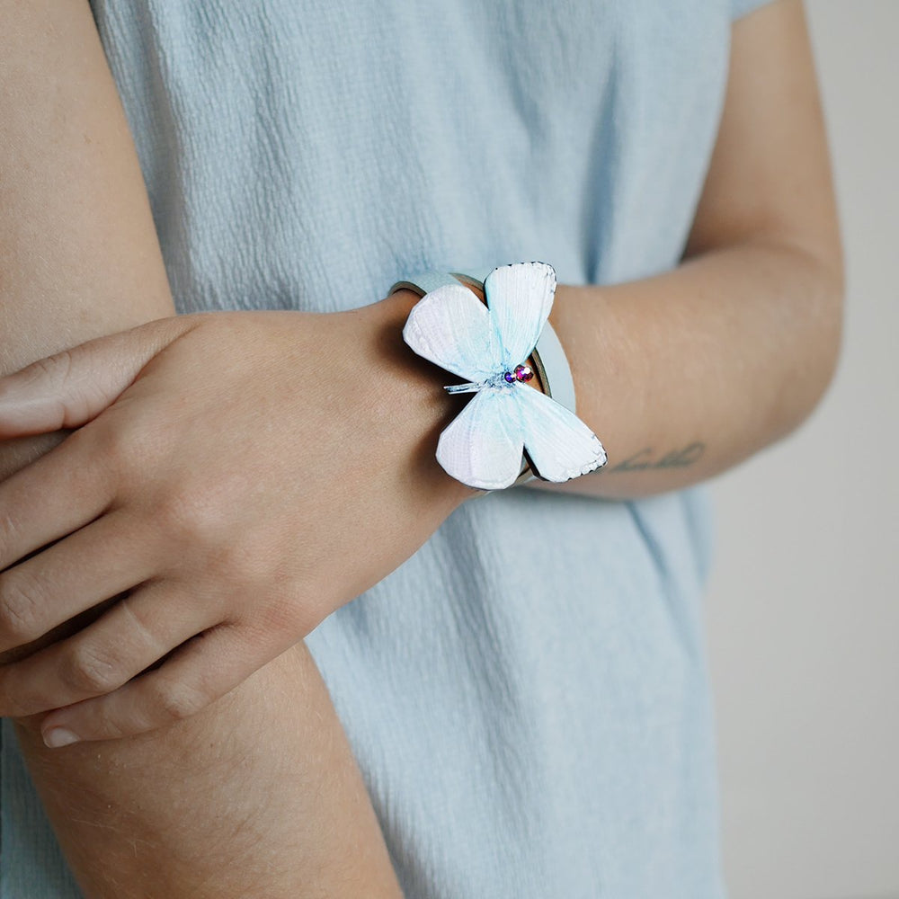 Light Blue-White Leather Wristband - KUMA Design Store