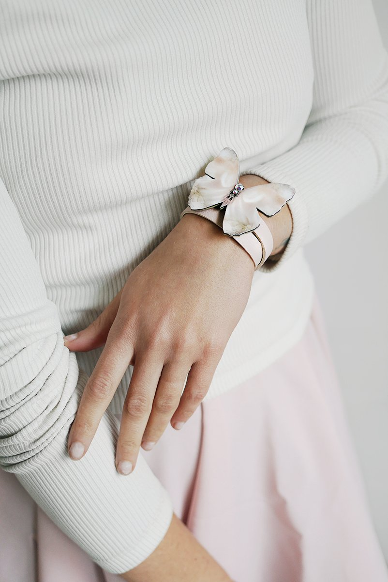 Baby Pink-Beige Leather Wristband