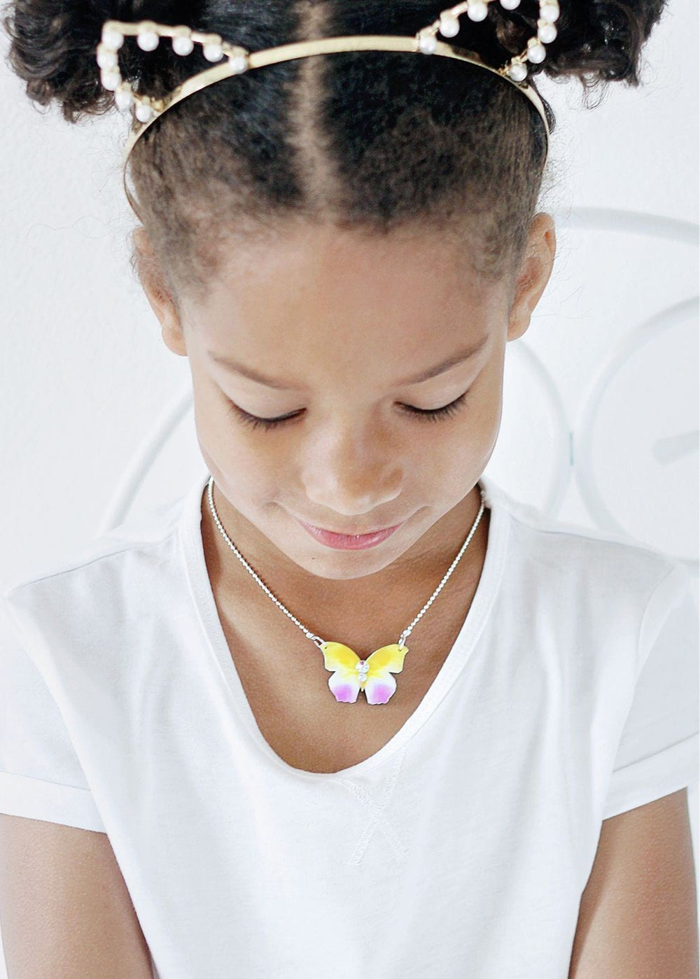 Butterfly Necklace in Yellow and Pink - KUMA Design Store