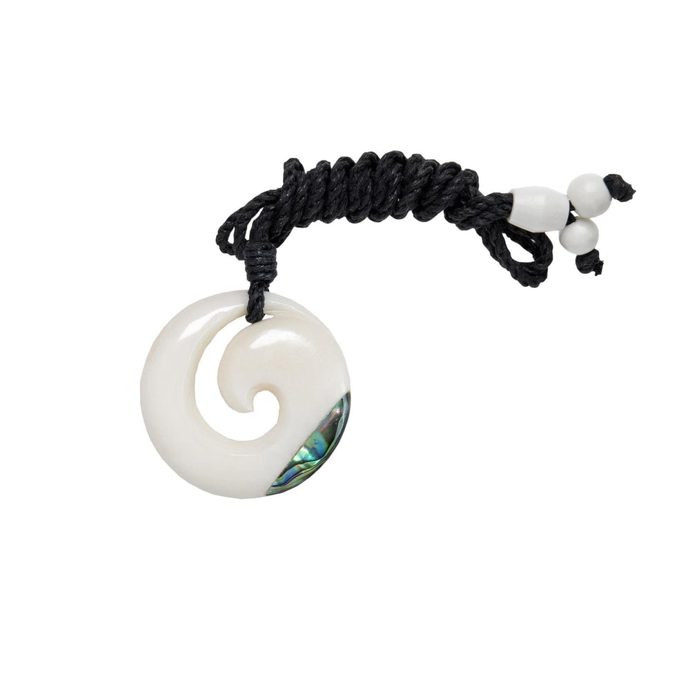 Hand Carved Bone & Abalone Simple Koru Pendant Necklace