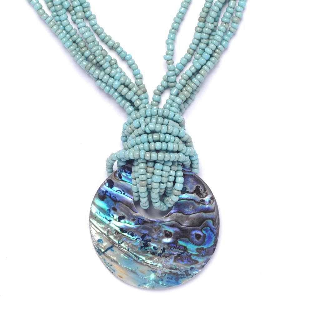 Shell Pendant Necklace with Turquoise Bead Strands - 81stgeneration